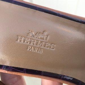 Hermes Shoes - Shiny Alligator Oran Sandals